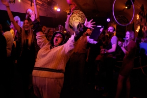 Revellers down the rabbit hole